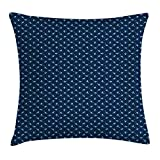 VICKKY Rockets Throw Pillow Cushion Cover, Outer Space Theme Doodle in Galaxy Cosmos Spaceship Shuttle Boys Cartoon, Decorative Square Accent Pillow Case, 18 X 18 Inches, Night Blue Coral