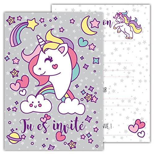 12 Cartes Dinvitation Amusantes Pour Enfants Dans Un Set Pour Fêtes Danniversaire Denfants Unicorn Pegasus Invitation à Une Fête