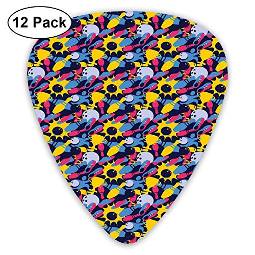 Guitar Picks12pcs Plectrum (0.46mm-0.96mm), Different Colored Hobby Sport Elements On Dark Blue Championship Victory Theme,For Your Guitar or Ukulele