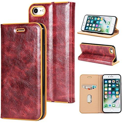 2017 Neu Hochwertige Kohlefaser automatische Saug-Schnalle Hülle Case ,TPU + Leder Cover Full Body Schutz für apple iphone 5/5s/se (Gray) Rotwein