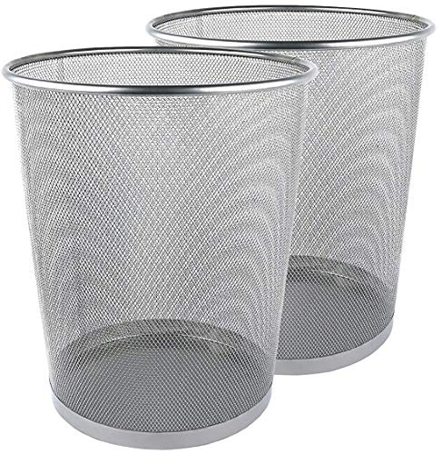 Greenco Netz, rund Abfalleimer Trash kann, 6Liter, Silber, 3Stück