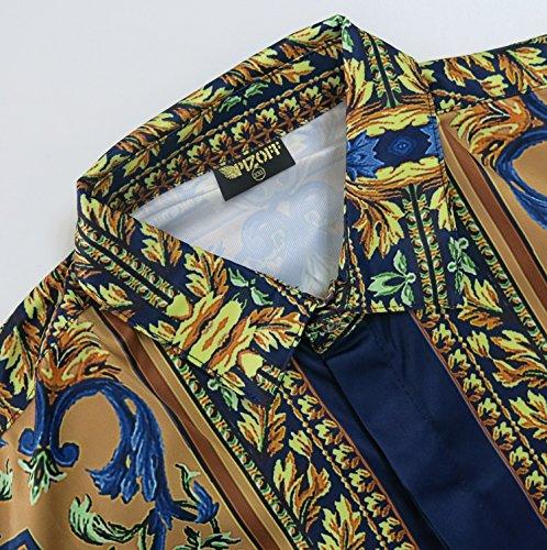 ... Pizoff Herren Luxus Langarm Golden Hemden mit Baroque-Motiven Y1706-27  ...