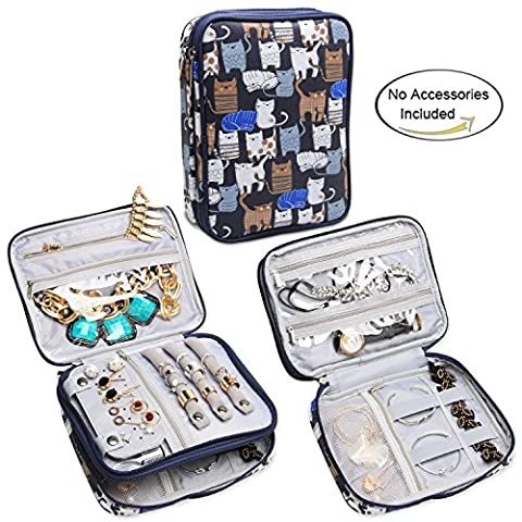 Teamoy Jewellery Organiser, Travel Jewellery Case with Storage Space for Necklaces, Bracelets, Earrings, Rings, Chains and more, Double Layer, Lightweight and Easy to Carry, Cats Blue