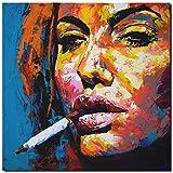 KUNST DRUCK Gemälde Leinwand modern abstrakt Bild 861 Portrait SIGNIERT 80x80