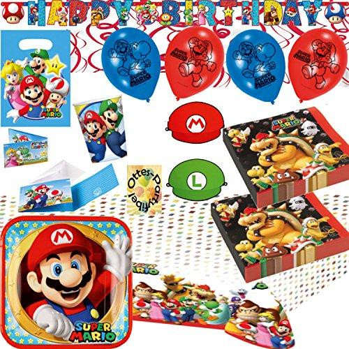 Super Mario Party-Set 121tlg. Teller Becher Servietten 2 Tischdecken Tüten Einladung Banner Hüte Luftballons Spiralen für 16 Kids (Und Mario Geburtstagsparty Luigi)