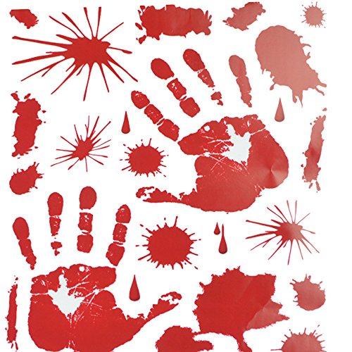 Oyedens 1pcs Halloween Schrecklich Abnehmbarer Wandaufkleber (Rote Handabdrücke)