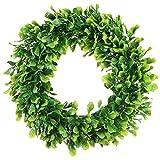Cikuso Künstlicher Grüner Blatt Kranz - 15 Zoll Buchsbaum Kranz im Freien Grünen Kranz für Haus Tür Wand Fenster Party Dekor