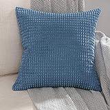 MIULEE 1 Stück Cord Weiches Massiv Dekorativen Quadratisch Überwurf Kissenbezüge Kissen für Sofa Schlafzimmer Auto 24'x24', 60 x 60 cm Granule Blaues Cyan