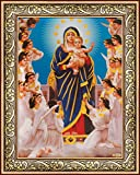 Avercart Virgin Mary - Queen of Angels - Jesus Christ - Christian Poster 13x18 cm with Photo Frame (5x7 inch framed)