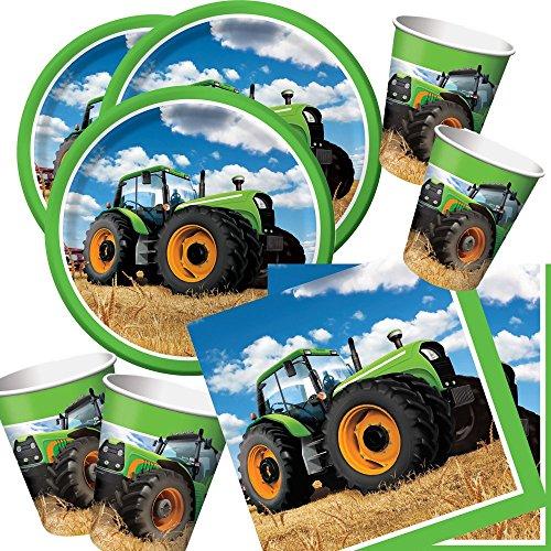 48-teiliges Party-Set Traktor - Teller Becher Servietten für 16 Kinder / Personen