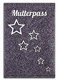 Minerva Luise - Mutterpass Hülle aus 100% Wollfilz für den deutschen Mutterpass - in Deutschland gefertigt - Sterne