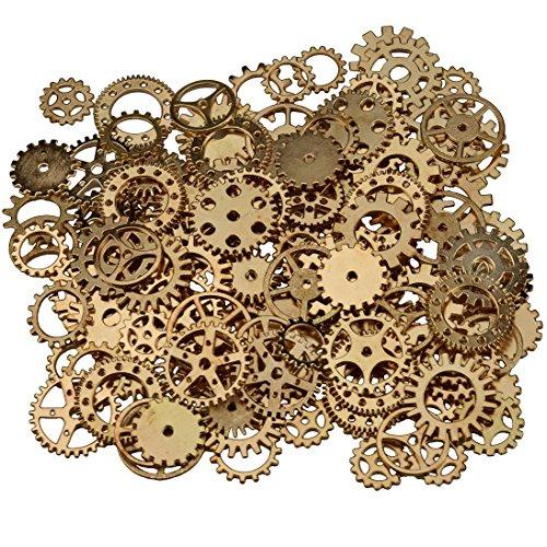 200 gramos surtidos de metal de bronce steampunk fabricación de joyas encantos Cog reloj rueda (200Gram, KC Oro)