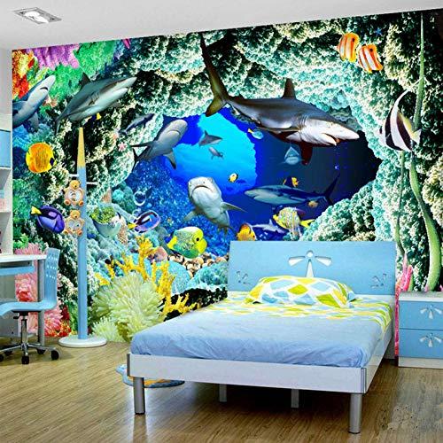 FLYYL HD Unterwasserwelt Dolphin Cave 3D Wandbild Tapete Moderne Persönlichkeit 3D Landschaft Tapete Für Kinderzimmer Dekoration