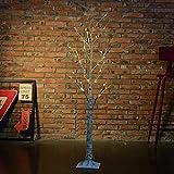 DAXGD LED luci tavolo bianco in legno di betulla, 47.2 pollici, luce bianca calda, perfetto per la festa di casa