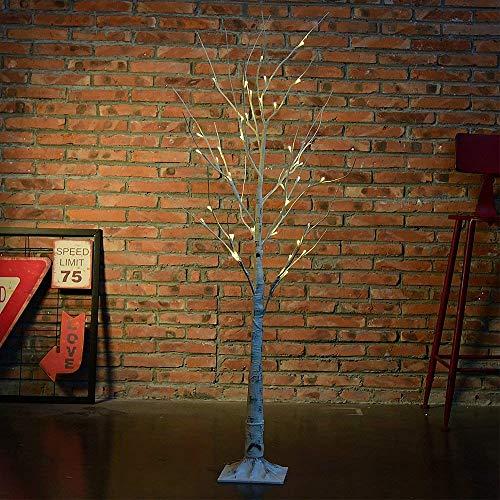 DAXGD LED luces escritorio superior abedul blanco, 47.2 pulgadas, cálida luz blanca, perfecto para el hogar fiesta fiesta de la boda de Navidad