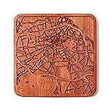 Zürich Stadtplan Untersetzer, One piece, Sapele Wooden Coaster with city map, Multiple city optional, Handmade
