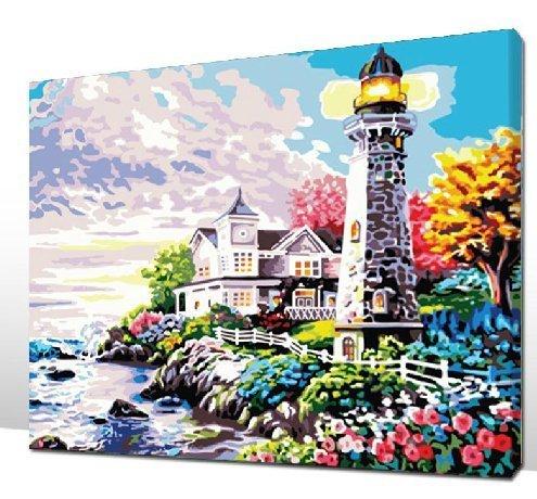 Bricolage numérique toile peinture à l'huile de décoration par les kits de nombres phare 16 * 20 cm.