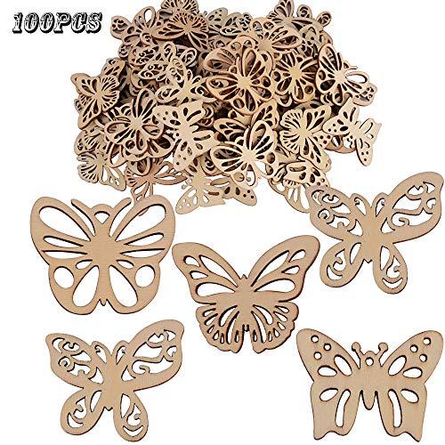 Jnch 100pz ciondoli legno da decorare pendenti piccoli decorazione per scatoline bomboniere regalo sacchetti scrapbooking fai da te farfalla