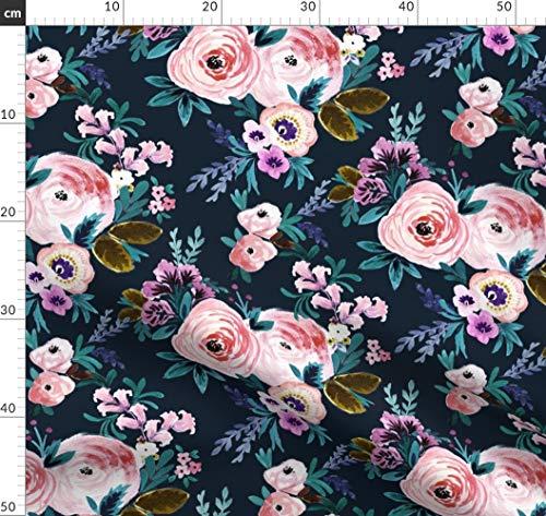 Blumen, Petrol, Mädchen, Rosen, Mitternacht, Marineblau Stoffe - Individuell Bedruckt von Spoonflower - Design von Crystal Walen Gedruckt auf Sport Lycra -