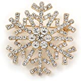 Gold Plated Crystal Snowflake Brooch - 40mm L