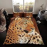 Reversible Duvet Set Quilt Cover Pillow Cases Bedding Set King Size Animal Print (LEOPARD-3D)