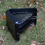 TY&WJ Outdoor Mini Holzkohlegrill, Faltbar Tragbarer Grill Bbq Barbecue Werkzeug 1-2 Personen 39.5x31x21cm(16x12x8inch) - Schwarz