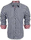 Burlady Karohemd Herren Hemd Langarm Trachtenhemd Karierte Hemden Cargo Bügelleicht Freizeit Bursiness Männer (XL, 63-Blau)