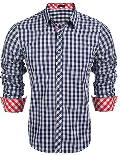 Burlady Karohemd Herren Hemd Langarm Trachtenhemd Karierte Hemden Cargo Bügelleicht Freizeit Bursiness Männer (XXL, 63-Blau)