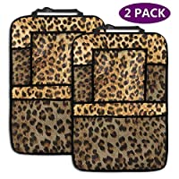 AGnight Leopard Skins Colorful Wild Animal Print Backseat Car Organizer Car Back Seat Protector Kick Mats for Kids Large Storage Pockets (2 Pack)
