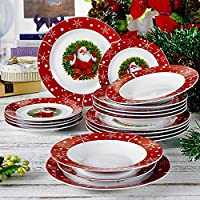 VEWEET, Serie SANTACLAUS, 18 Piezas vajillas de Porcelana, Platos Completa 6 Platos de Postre 6 Platos de Cena 6 Plato de Sopa vajilla para Navidad para 6 Persona