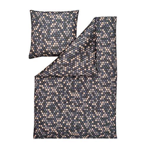 ESTELLA Bettwäsche Ravi | Graphit | 135x200 + 80x80 cm | Pflegeleichte Interlock Jersey Qualität | trocknerfest und bügelfrei | ideale Vier Jahreszeiten Bettwäsche | 100% Baumwolle