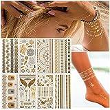 Tatuajes temporales metálicos dorados y plateados, resistentes al sudor, impermeables, para fiestas, festivales, playas y bodas, 8 hojas, para festivales, tatuajes para mujeres, adolescentes, niñas