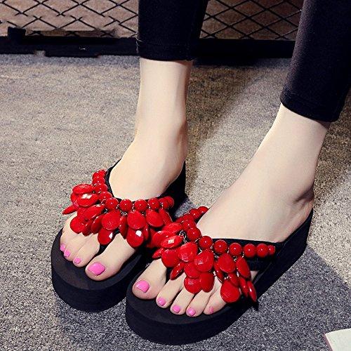 Pantoufles en perles faites à la main Chaussons épais Chaussures de plage Chaussons de sandales avec 8 couleurs ( Couleur : #3 , taille : EU40/UK7/CN41 ) #8