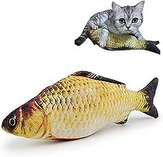 TickTocking 30 cm Katzenminze Spielzeug, Plüsch-Fischform, interaktives Kissen für Katze/Kätzchen/Kätzchen/Fisch Flop Katzenspielzeug, Katzenminze