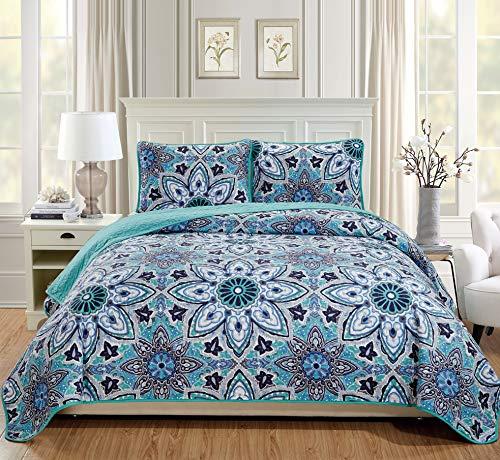 Linen Plus Tagesdecke, gesteppt, Übergröße, Blumenmuster, Türkis/Grau/Weiß/Marineblau Twin/Twin XL (Florale Bettwäsche Twin Xl)