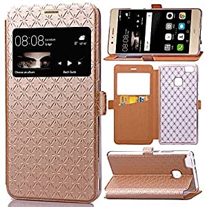 bdeals Flip Housse Étui en Cuir PU Protection Portefeuille avec fenêtre et fonction de support & Card Slots pour Huawei P9 Lite Coque , or