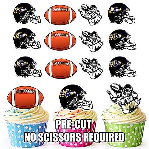 Football américain NFL pour cupcakes/gâteau Décorations (lot de 12) Baltimore Ravens