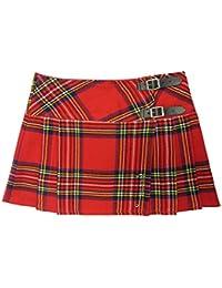 Mini jupe à carreaux kilt écossais punk rouge 34-56