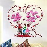 Coppie rimovibile Wall sticker adesivo camera da letto parete calda decorare Noleggio Amore Amore decalcomanie rosa palloncino giovane Automobile