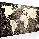 Bilder Weltkarte World map Wandbild 150 x 60 cm Vlies - Leinwand Bild XXL Format Wandbilder Wohnzimmer Wohnung Deko Kunstdrucke Braun 5 Teilig - MADE IN GERMANY - Fertig zum Aufhängen 101756c