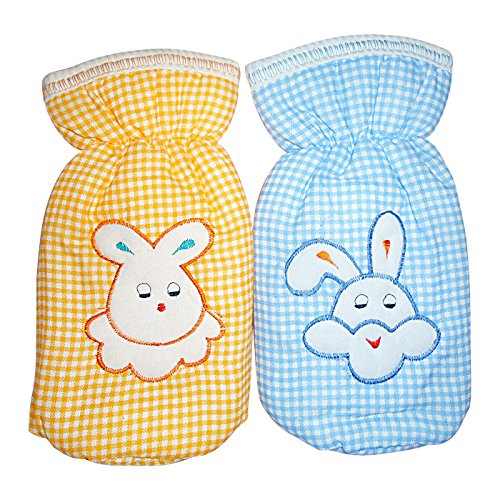 Littly Printed Bottle Covers Combo - Blue, Orange- Pack of 2