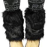 Maniche per stivali da donna in pelliccia sintetica, scaldamuscoli pelosi, nero