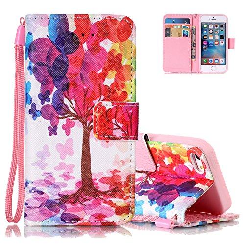 Iphone 5s cover, aeeque motivo alberi colorati custodia a libro per iphone 5 5s se (4.0 pollice) in silicone pelle pu flip smart portafoglio cover con chiusura magnetica e funzione di supporto - modello #22