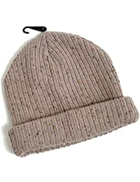 4f771148912 Topman Mens Stone Fleck Neppy Mini Beanie Oatmeal Thick Ribbed Hat One Size  Grey