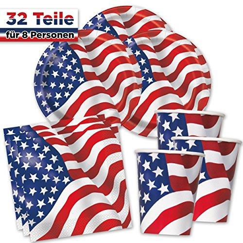 USA PartyBox American Flag - Teller, Becher & Servietten - für Mottoparty, Geburtstag, 4th of July Party & Co. (für 8 Gäste - 32-TLG.) American-becher