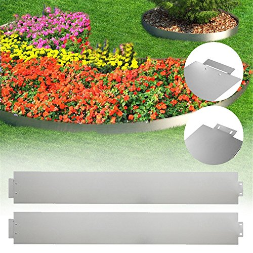 MCTECH® 50 x Rasenkante Metall verzinkt Beetumrandung Beeteinfassung Mähkante, 14cm hoch, 100cm lang (50m) -