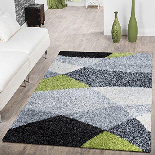 Moderner Hochflor Teppich Shaggy Vigo Gemustert in Schwarz Grau Weiß Grün Top Preis!!, Größe:160x220 cm Grün Schwarz Beige-teppich