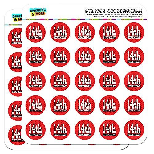 14. vierzehnten Geburtstag rot schwarz Polka Punkte 2,5cm (2,5cm) Scrapbooking, Aufkleber