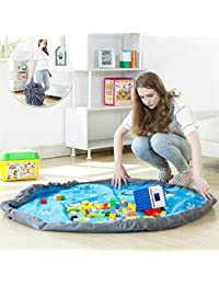 EasyBuy India L, Bluee : New Arrival Portable Kids Toy Storage Bag And Play Mat Lego Toys Organizer Bin Box XL...