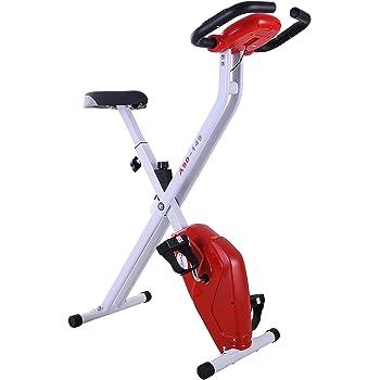 Homcom Bicicleta de Fitness Plegable Bicicleta Estática de Spinning Pantalla LCD Asiento Ajustable Resistencia Regulable a